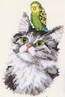 Вышивка крестом.  Главные персонажи - животные: кошки, собаки, попугаи и многие другие.