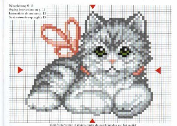 Маленькая схема вышивки котенок
