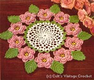 Крючком салфетка цветок