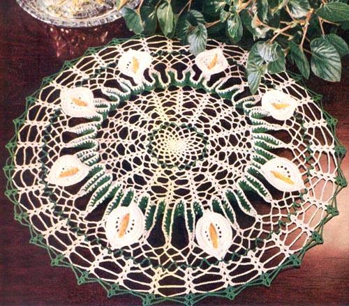 Салфетки с цветами крючком схемы с описанием