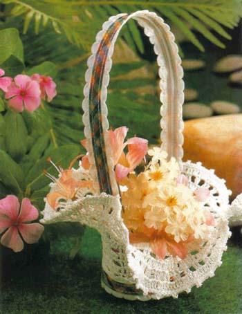 Нужно связать 6 ажурных цветов, из которых будут состоять края вазы.  Все цветы вяжем по следующей схеме: 1-й круг...