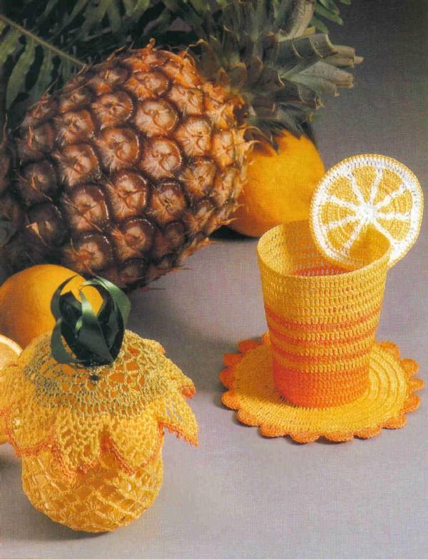 стакан и ананас связанные крючком