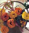 Вязаные крючком цветы, фрукты, игрушки, рыбки, кузнечики.