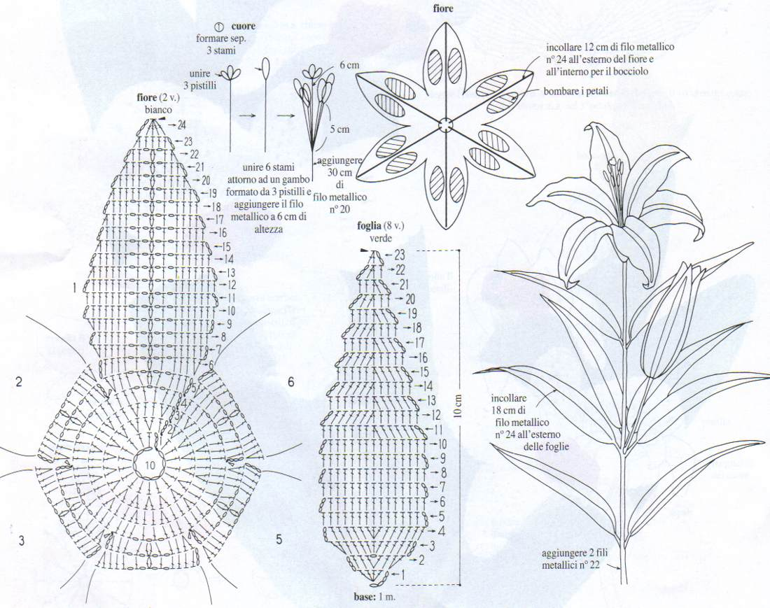 Вязаные часы.  Last.  Random image: Схемы цветы на стебельках и в горшочках.  106. 107.